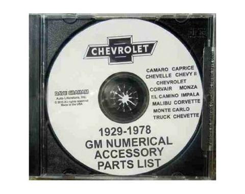 GM Numerical Accessory Parts List CD,1929 Thru 1978