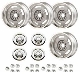 Nova - Rally Wheel Kit, 1-Piece Cast Aluminum With  Flat Disc Brake Style Center Caps,  17x8