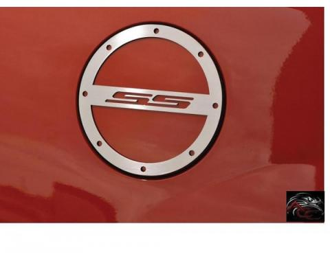"American Car Craft, Gas Door Cap Cover ""SS"" Logo Brushed Stainless Steel