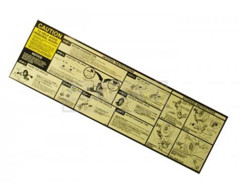 Jack Instruction Decal Firebird 1985-1986