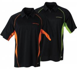 Chevy Polo Shirt, Men's, Zippered, Northend Performance, Black And Acid Green