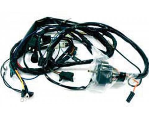 Firebird Engine Wiring Harness, V8, With Rally Gauges & Hood Air Scoop, & Unitized Distributor, 1972
