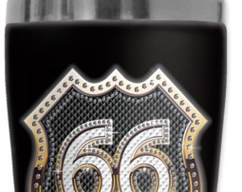 Mugzie Cocktail Shaker, Hot Or Cold, Checkered Flag Route 66 Bling (gold)