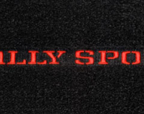 Camaro Floor Mats, 4 Piece Lloyd® Classic Loop™, Rally Sport Logo in Black, Red Carpet, 1970-1973