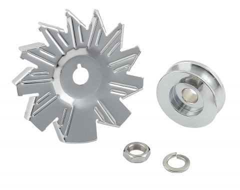 Mr. Gasket Chrome Plated Alternator Fan And Pulley Kit 6808
