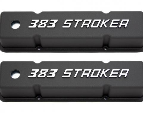 RPC Racing Power Company R7617, Valve Cover, For Use With 1958-1987 Small Block Chevy 383 Engines, 3-7/8 Inch Height, 4 Bolt Holes, With Oil Fill Hole, With White 383 Stroker Logo, Black, Aluminum, Set Of 2