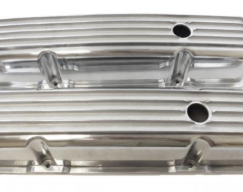 RPC Racing Power Company R6181, Valve Cover, For Use With 1958-1987 Small Block Chevy Engines, 3-11/16 Inch Height, 4 Bolt Holes, With Oil Fill Hole, With Baffles, Fully Finned, Aluminum, Set Of 2