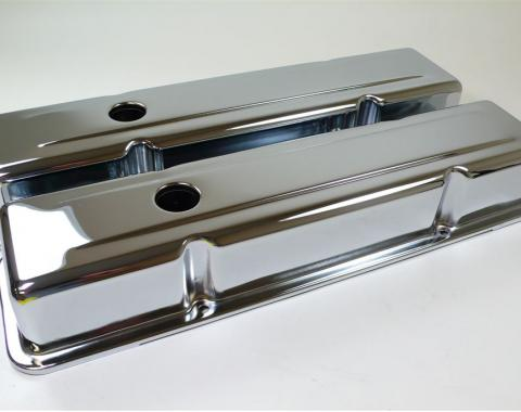 RPC Racing Power Company R9215, Valve Cover, For Use With 1958-1986 Small Block Chevy 283/305/327/350 Engines, 3-5/8 Inch Height, 4 Bolt Holes, With Oil Fill Hole, With Chevrolet/ Bowtie Logo, Orange, Cast Aluminum, Set Of 2