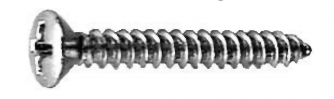 #8 X 1'' (#6 HD) PHILLIPS OVAL HEAD TS - CHROME Machine Screw