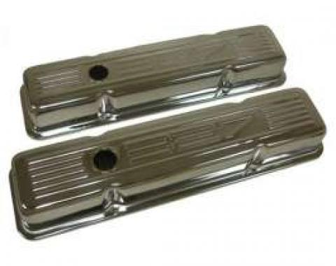 Chevy Small Block Chrome Valve Covers With 327 Logo, Tall, 1958-1986