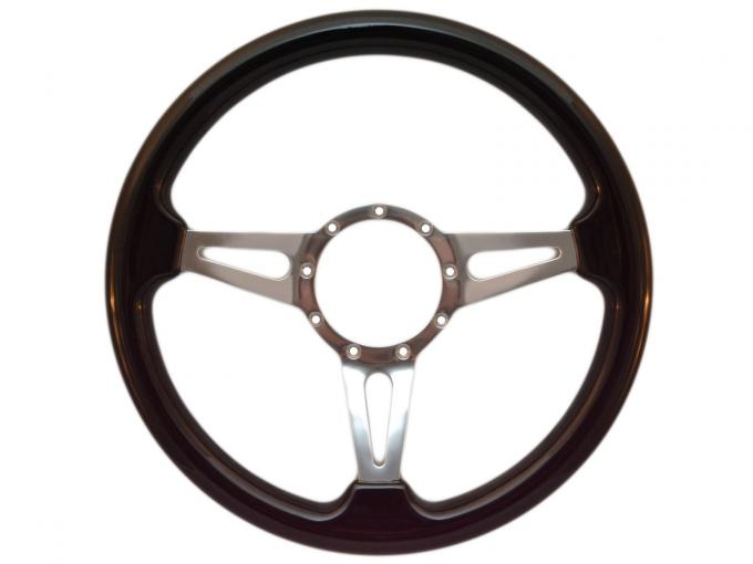 Volante S9 Premium Steering Wheel, with Slotted Polished Aluminum Spokes & Black Ash Grip