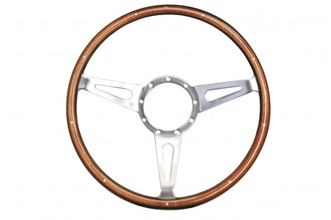 Volante S9 Sebring Steering Wheel, with Slotted Polished Aluminum Spokes & Wood Grip with Rivets