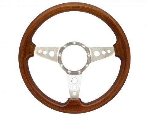 Volante S9 Premium Steering Wheel, with 3 Hole Polished Aluminum Spokes & Walnut Grip