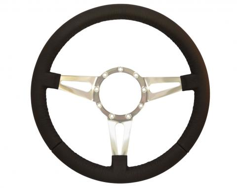 Volante S9 Premium Steering Wheel, with Slotted Polished Aluminum Spokes & Leather Grip