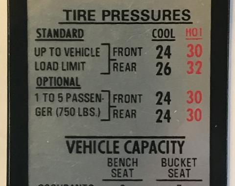 Camaro Tire Pressure Decal, Z28, Driver's Door, 1969-1970