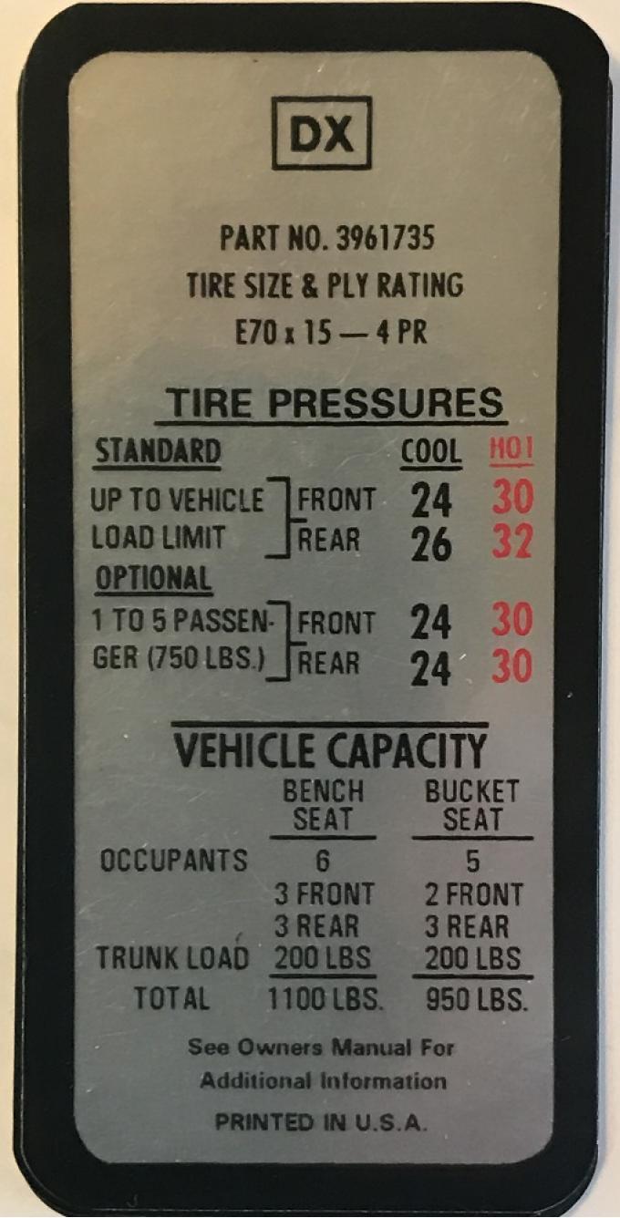 Camaro Tire Pressure Decal, Z28, Driver's Door, 1969-1970