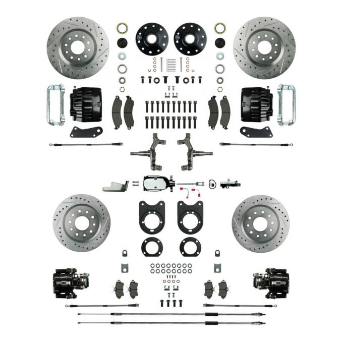"""Right Stuff 4 Wheel 2"""" Drop Big Brake Manual Disc Conversion Kit with a Chrome Master Cylinder & Valve, Spindles, Drilled & Slotted Rotors, Black Twin Piston Calipers and Stainless Hoses for 68-69 F-Body and 68-74 Nova with Staggered Rear Shocks. AFXSD55DSX"""