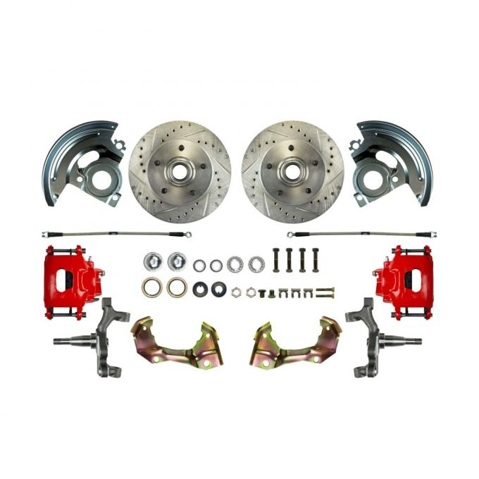 """Right Stuff 2"""" Drop Front Wheel Kit with Spindles, Drilled & Slotted Rotors, Red Powder Coated Calipers, Stainless Hoses, Backing Plates & Caliper Brackets for 67-69 GM F-Body and 68-74 Nova. AFXWK02DZ"""