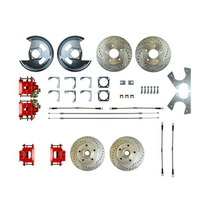 Right Stuff Rear +2 Disc Brake Conversion Kit with 4 Drilled & Slotted Rotors, 4 Red Powder Coated Calipers, Braided Hoses & with Parking Brake Cable for 69 F-Body and 69-74 Nova. F69RD05Z