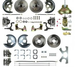 "Right Stuff 4 Wheel Stock Height Power Disc Brake Conversion with an 11"" Booster, Master Cylinder & Valve, Spindles, Standard Rotors, Natural Finish Calipers, Hoses and more for 67 GM F-Body with Non-Staggered Rear Shocks. AFXDC42C"