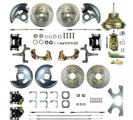 """Right Stuff 4 Wheel 2"""" Drop Power Disc Brake Conversion with an 11"""" Booster, Master Cylinder & Valve, Spindles, Drilled & Slotted Rotors, Black Powder Coated Calipers, Stainless Hoses and more for 67 GM F-Body with Non-Staggered Rear Shocks. AFXDC42DS"""