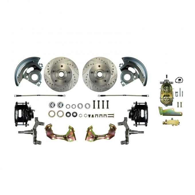 """Right Stuff Manual Front 2"""" Drop Disc Brake Conversion Kit with Drilled and Slotted rotors, Black Powder Coated Calipers and Stainless Hoses for 67-69 GM F-body. AFXSD02DS"""