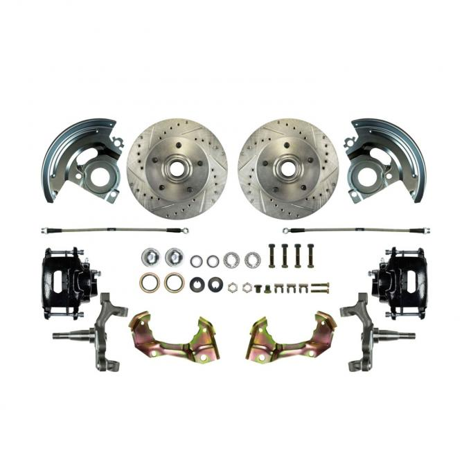 Right Stuff Stock Height Front Wheel Kit with Show 'N Go Upgrade featuring Spindles, Drilled & Slotted Rotors, Black Powder Coated Calipers, Stainless Hoses, Backing Plates, Caliper Brackets and more for 67-69 F-Body and 68-74 Nova. AFXWK02CS