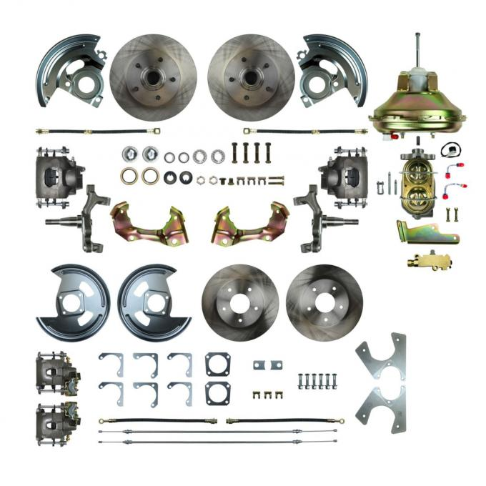 """Right Stuff 4 Wheel 2"""" Drop Power Disc Brake Conversion with an 11"""" Booster, Master Cylinder & Valve, Spindles, Standard Rotors, Natural Finish Calipers, Hoses and more for 67 GM F-Body with Non-Staggered Rear Shocks. AFXDC42D"""