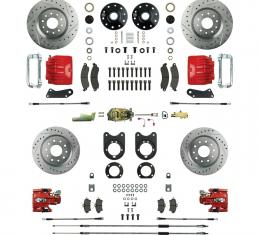 Right Stuff 4 Wheel Stock Height Big Brake Manual Disc Conversion Kit with a Master Cylinder & Valve, Spindles, Drilled & Slotted Rotors, Red Twin Piston Calipers and Stainless Hoses for 68-69 F-Body and 68-74 Nova with Staggered Rear Shocks. AFXSD55CZ
