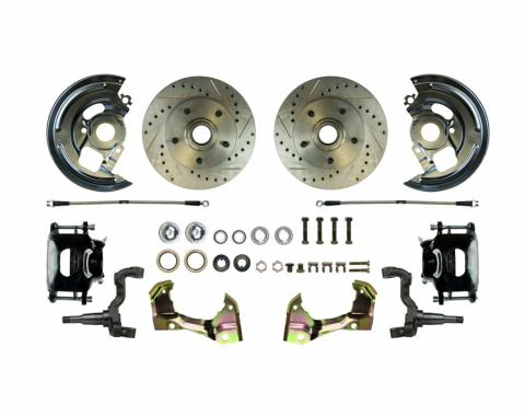 Right Stuff Stock Height Front Wheel Kit with Show 'N Go Upgrade featuring Spindles, Drilled & Slotted Rotors, Black Powder Coated Calipers, Stainless Hoses, Backing Plates, Caliper Brackets and more for 64-72 GM A-Body. AFXWK01CS
