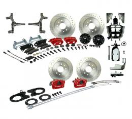 "Right Stuff 4 Wheel 2"" Drop Big Brake Power Disc Conversion Kit with a Chrome 8"" Dual Brake Booster & Master Cylinder, Spindles, Drilled & Slotted Rotors, Red Twin Piston Calipers and Stainless Hoses for 68-69 F-Body and 68-74 Nova with Staggered Rear Shocks. AFXDC55DZX"
