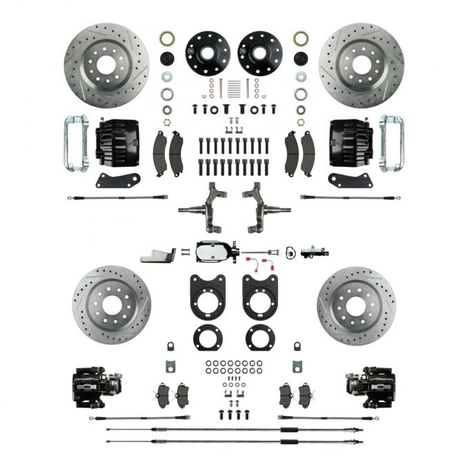 Right Stuff 4 Wheel Stock Height Manual Disc Brake Conversion with a Chrome Master Cylinder & Valve, Spindles, Drilled & Slotted Rotors, Black Powder Coated Calipers, Hoses, Backing Plates & Caliper Brackets for 67 GM F-Body with Non-Staggered Rear Shocks. AFXSD42CSX