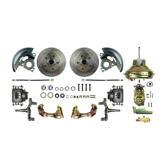 """Right Stuff Power Front 2"""" Drop Disc Brake Conversion Kit with an 11"""" Brake Booster & Master Cylinder, Standard Rotors and Natural Finish Calipers for 67-69 F-Body and 68-74 Nova. AFXDC02D"""