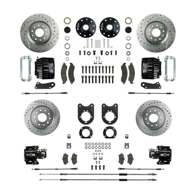 Right Stuff Stock Height Big Brake 4 Wheel Kit with Spindles, Drilled & Slotted Rotors, Black Twin Piston Calipers, Stainless Hoses, Caliper Brackets and more for 64-72 GM A-Body, 67-69 F-Body and 68-74 Nova with Non-Staggered Rear Shocks. AFXWK51CS