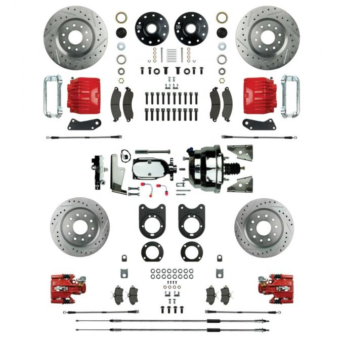 """Right Stuff 4 Wheel Stock Height Big Brake Power Disc Conversion Kit with a Chrome 8"""" Dual Brake Booster & Master Cylinder, Spindles, Drilled & Slotted Rotors, Red Twin Piston Calipers and Stainless Hoses for 68-69 F-Body and 68-74 Nova with Staggered Rear Shocks. AFXDC55CZX"""