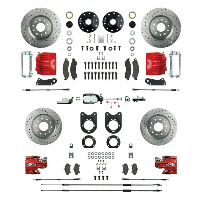 """Right Stuff 4 Wheel 2"""" Drop Big Brake Manual Disc Conversion Kit with a Chrome & Master Cylinder, Spindles, Drilled & Slotted Rotors, Red Twin Piston Calipers and Stainless Hoses for 64-72 GM A-Body, 67-69 F-Body and 68-74 Nova with Non-Staggered Rear Shocks. AFXSD51DZX"""