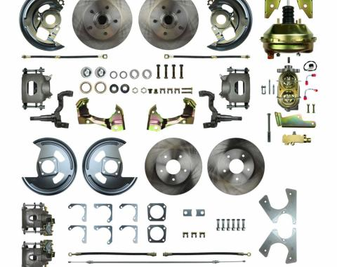 """Right Stuff 4 Wheel 2"""" Drop Power Disc Brake Conversion with an 11"""" Booster, Master Cylinder & Valve, Spindles, Standard Rotors, Natural Finish Calipers, Hoses and more for 68-69 GM F-Body and 68-74 Nova with Staggered Rear Shocks. AFXDC45D"""