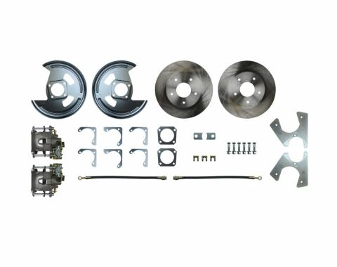 Right Stuff Rear Disc Brake Conversion Kit with Standard Rotors, Natural Finish Calipers, Hoses & more for 75-81 F-Body with Staggered Shocks. No E-Brake Cable Included. AFXRDM7