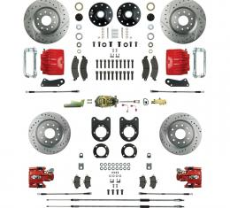 """Right Stuff 4 Wheel 2"""" Drop Big Brake Manual Disc Conversion Kit with a Master Cylinder & Valve, Spindles, Drilled & Slotted Rotors, Red Twin Piston Calipers and Stainless Hoses for 64-72 GM A-Body, 67-69 F-Body and 68-74 Nova with Non-Staggered Rear Shocks. AFXSD51DZ"""