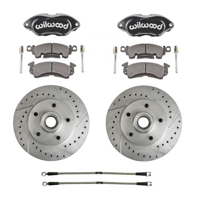 Right Stuff Performance Series Replacement Brake Kit with Black Wilwood Dual Piston Calipers, Drilled & Slotted Rotors and Stainless Hoses for 69-72 GM A-body, 69 F-Body and 69-74 Nova. RCP70S
