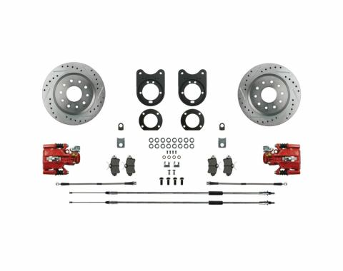 Right Stuff Signature Series Big Brake Rear Disc Conversion Kit with Drilled & Slotted Rotors, Red Powder Coated Calipers, Stainless Hoses, E-brake cables and more for 75-81 F-Body with Staggered Shocks. AFXRD37Z