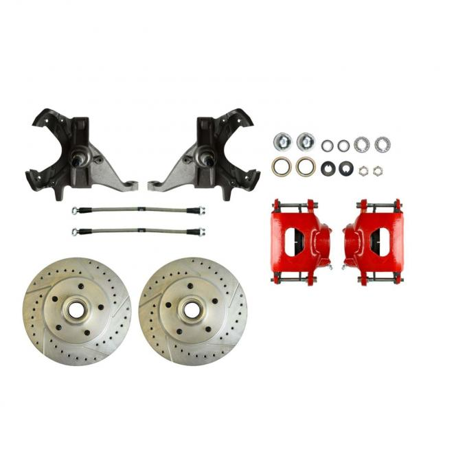 """Right Stuff 2"""" Drop Front Disc Brake Wheel Kit with Show 'N Go Upgrade with Spindles, Drilled & Slotted Rotors, Red Powder Coated Calipers, Stainless Hoses and more for 73-77 GM A-Body and 70-77 F-Body. AFXWK70DZ"""