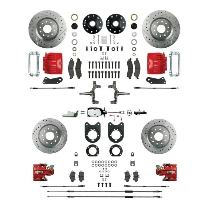 """Right Stuff 4 Wheel 2"""" Drop Manual Disc Brake Conversion with a Chrome Master Cylinder & Valve, Spindles, Drilled & Slotted Rotors, Red Powder Coated Calipers, Hoses, Backing Plates & Caliper Brackets for 68-69 GM F-Body and 68-74 Nova with Staggered Rear Shocks. AFXSD45DZX"""