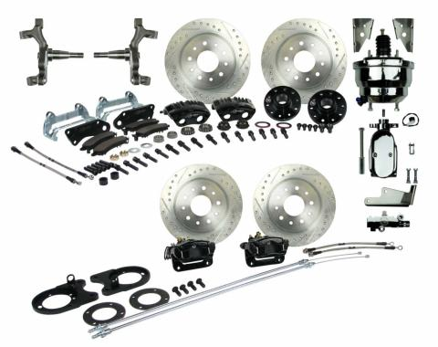 "Right Stuff 4 Wheel 2"" Drop Big Brake Power Disc Conversion Kit with a Chrome 8"" Dual Brake Booster & Master Cylinder, Spindles, Drilled & Slotted Rotors, Black Twin Piston Calipers and Stainless Hoses for 68-69 F-Body and 68-74 Nova with Staggered Rear Shocks. AFXDC55DSX"