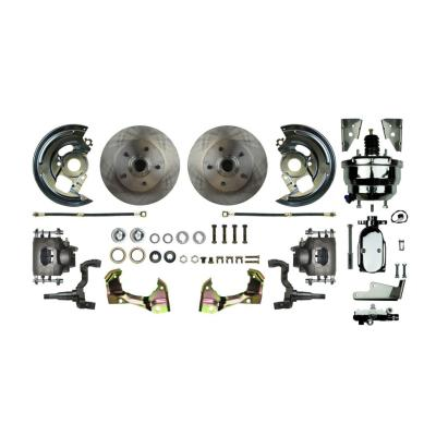 """Right Stuff Power Front Stock Height Disc Brake Conversion Kit with a Chrome 8"""" Dual Brake Booster and Master Cylinder & Valve, Standard Rotors and Natural Finish Calipers for 67-69 F-body and 68-74 Nova. AFXDC02CX"""
