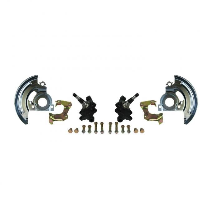 """Right Stuff 2"""" Drop Mini Disc Brake Conversion Kit with Spindles, Single Piston Caliper Brackets & Backing Plates for 67-68 GM A-Body, 67-69 F-Body and 67-68 Chevy II/Nova. AFXMD4"""