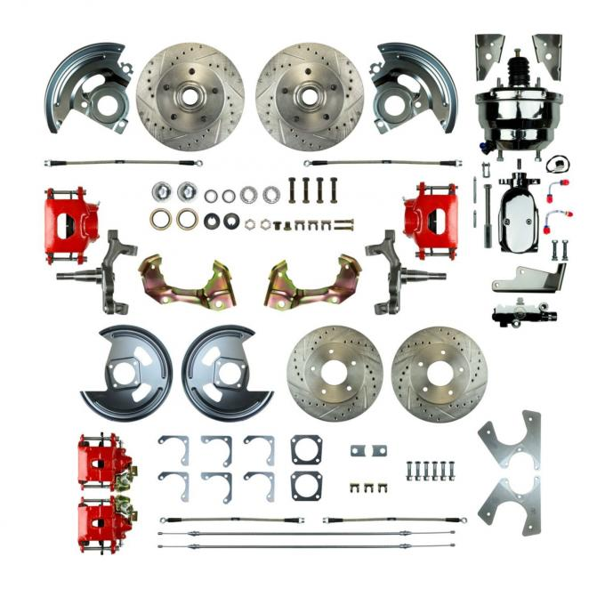 """Right Stuff 4 Wheel 2"""" Drop Power Disc Brake Conversion with a Chrome 8"""" Dual Booster, Master Cylinder & Valve, Spindles, Drilled & Slotted Rotors, Red Powder Coated Calipers, Stainless Hoses and more for 67 GM F-Body with Non-Staggered Rear Shocks. AFXDC42DZX"""