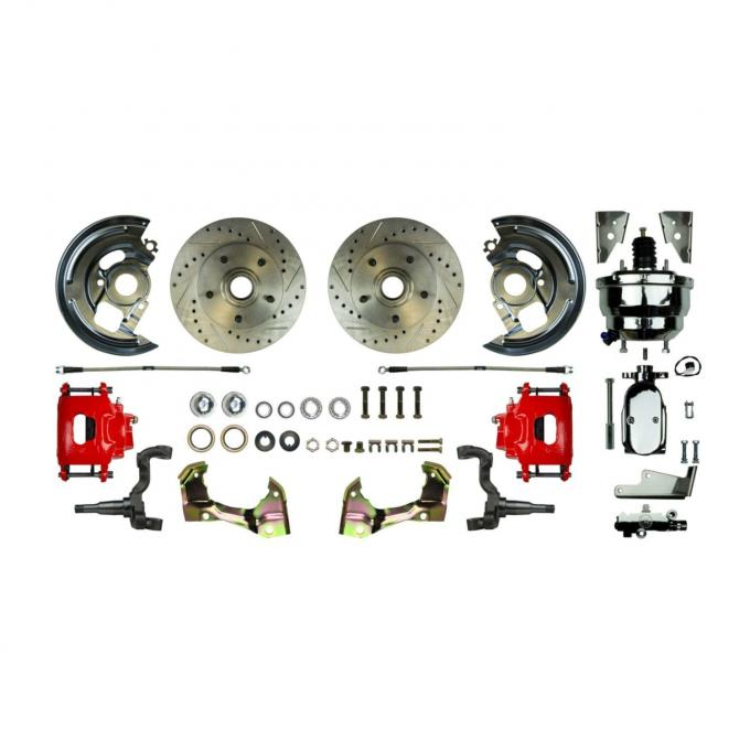 """Right Stuff Power Front Stock Height Disc Brake Conversion Kit with a Chrome 8"""" Dual Brake Booster and Master Cylinder & Valve, Drilled and Slotted rotors, Red Powder Coated Calipers and Stainless Hoses for 67-69 F-body and 68-74 Nova. AFXDC02CZX"""