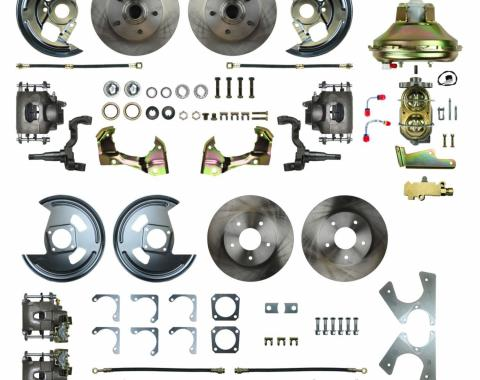 """Right Stuff 4 Wheel Stock Height Power Disc Brake Conversion with an 11"""" Booster, Master Cylinder & Valve, Spindles, Standard Rotors, Natural Finish Calipers, Hoses and more for 67 GM F-Body with Non-Staggered Rear Shocks. AFXDC42C"""