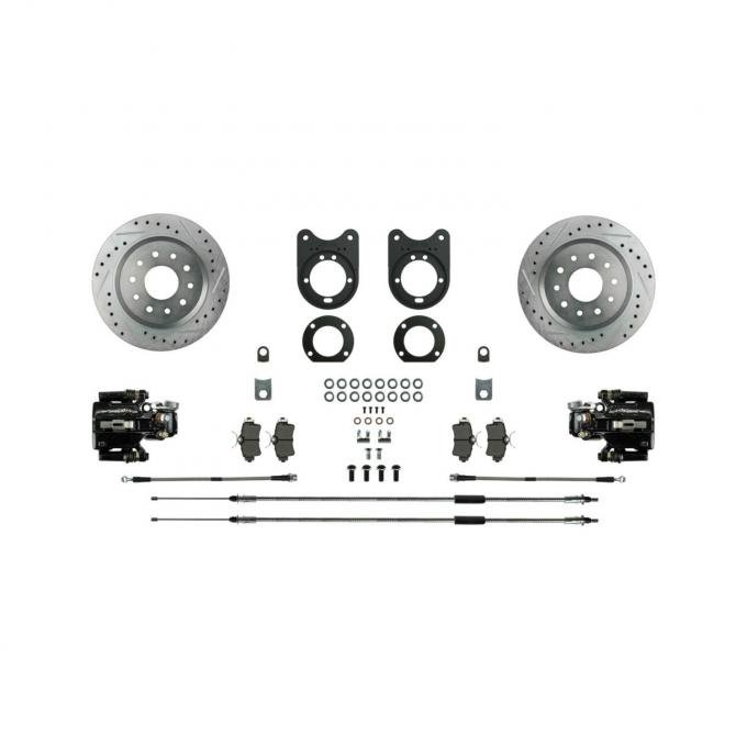Right Stuff Signature Series Big Brake Rear Disc Conversion Kit with Drilled & Slotted Rotors, Black Powder Coated Calipers, Stainless Hoses, E-brake cables and more for 70-74 F-Body with Staggered Shocks. AFXRD36S